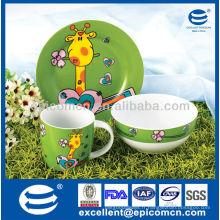 Colorful Chinaware 3Pcs set de petit-déjeuner en porcelaine BC8028 vaisselle fabricant de céramique