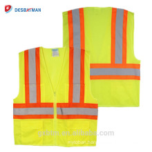 Wholesale Neon Yellow ANSI 100% Polyester Mesh High Visibility Traffic Safety Vest With Reflective Tapes And Zipper Front