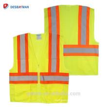 Оптовая продажа неоновый желтый стандартов ANSI 100% полиэстер сетки высокая видимость трафика жилет безопасности с светоотражающие ленты и молнии спереди