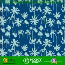 Tissu de mousseline de soie d'impression de polyester de conception d'arbre de noix de coco pour la robe
