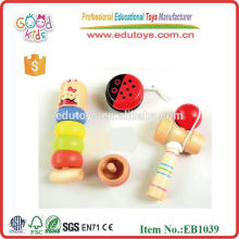 Popular Kids Gift Wooden Toy Musical Set include YOYO, spinning top, kendama and stacker