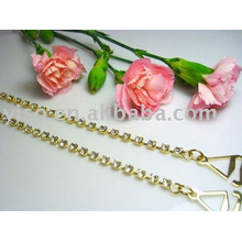gold plating single row rhinestone bra straps