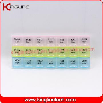 Boîte à pilules en plastique avec 21 cas (KL-92101F)