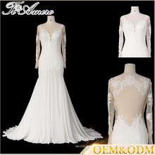 Tiamero European over hip design prospective backless long sleeve import lace mermaid wedding gown