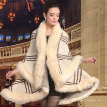 Women Fashion Acrylic Knitted Faux Fur Winter Warm Shawl (YKY4469)