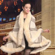 Женская мода акриловые трикотажные искусственного меха зима теплая шаль (YKY4469)