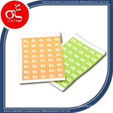 Garment Clothes Adhesive Size Stickers for Clothing Tag