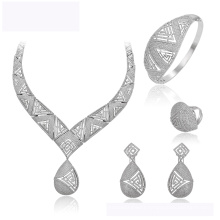 set-157 XUPING hot sale fashion new design Rhodium color jewelry necklace earring and ring for women wedding jewelry set