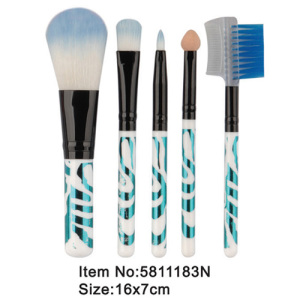 5pcs travel plastic handle makeup brush set
