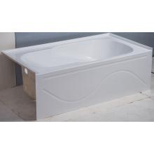 Baignoire à tablier intégrale blanche avec drain à gauche