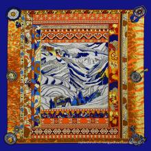 Оптовая продажа индивидуальные печать экрана паломничество подражали 100*100 индийский шелковый шарф