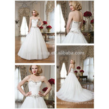 Latest 2014 Sweetheart Long Tail Tulle Made Lace-up Ball Gown Wedding Dress Bridal Gown With Pleats Beaded Sash Accent NB0633