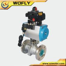 China proveedor neumático 1pc brida válvula de bola dn50 pn16
