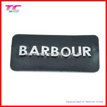 Moda auténtica Negro Patches de cuero con letras de metal Logo