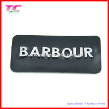 Fashion Genuine Black Leather Patches with Metal Letters Logo
