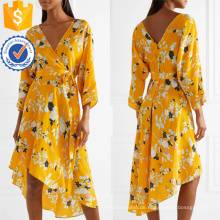 Asymmetrische Hem V-Ausschnitt Langarm Blumendruck Wrap Sommerkleid Herstellung Großhandel Mode Frauen Bekleidung (TA0330D)