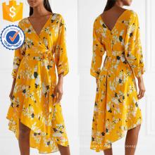Asymétrique Ourlet V-cou à manches longues Floral-Print Wrap Summer Dress Fabrication en gros Mode Femmes Vêtements (TA0330D)
