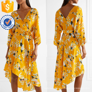 Vestido asimétrico de manga larga con cuello en V y manga corta con estampado floral en verano, fabricación de prendas de vestir de mujer de moda al por mayor (TA0330D)