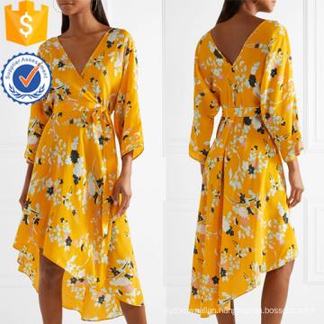 Asymmetric Hem V-Neck Long Sleeve Floral-Print Wrap Summer Dress Manufacture Wholesale Fashion Women Apparel (TA0330D)