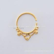 Indian Septum Piercing Nose Ring, Bijoux en or argent sterling plaqué or, exportateur de bijoux Septum