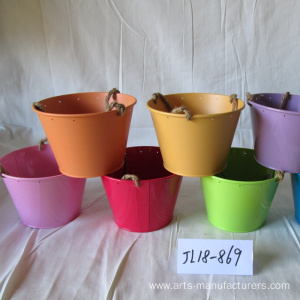Mini Round Balcony Metal Iron Flower Pot
