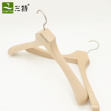 логотип высокого качества роскошные толстые деревянные вешалки для одежды