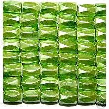Pea Green Hematite 18 Faced Tube Beads 5X8MM Grade AB