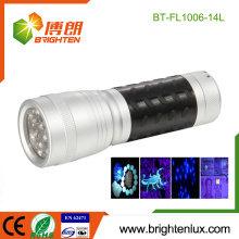 Vente en vrac en usine 3 * AAA Battery Powered Handy 370nm-375nm Jade Detection Metal Material 14 led uv Flashlight