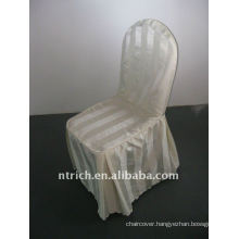 polyester chair cover with stripe,CT494 ivory/beige/cream color,banquet chair cover,250GSM best quality
