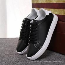 Hot Selling Girls White Black Shoes en cuir