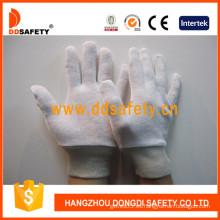 100% guantes de blanqueador de algodón / enclavamiento, reversibles con muñeca de punto (DCH104)