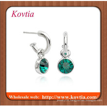 fashion bridal earring silver bezel set hoop green stone drop earring