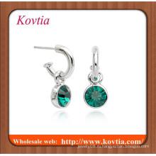 Мода для новобрачных серьги серебряный ободок набор обруч зеленый камень падение серьги