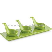 Aperitivo cerâmico verde aperitivo servindo conjunto com base para BS12094B