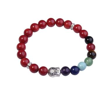 Red CoralBracelet Buddha 7 Chakra Gemstone Alloy Beads Jewelry
