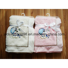Ultra Soft Coral Fleece Blanket with Animal Applique for Baby