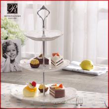 Keramische Hochzeitsdekoration runde Phantasie 3 Tier Kuchen stehen