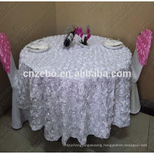 100% Polyester Customized Size with Rose Fancy Wedding Table Cloths