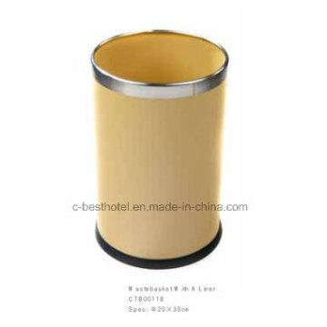 Poubelle en acier inoxydable en cuir