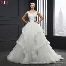 MZ-0058 V-neck Ball Gown Lace Up Robe de mariée sans manches