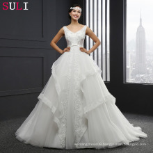 MZ-0058 V-neck Ball Gown Lace Up Sleeveless Wedding Dress