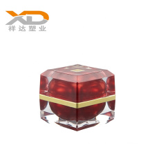 Wholesale elegant spray paint red square acrylic cosmetic bottle and cream jar  for personal care with customized art