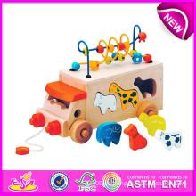 Pädagogisches Spielzeug ziehen und schieben Spielzeug für Kinder, hölzernes Spielzeug DIY Spielzeug für Kinder, Schnur-Korn-Spielzeug-hölzernes Block-Spielzeug für Baby W05b074