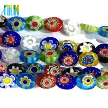 grânulos de millefiori de vidro oval de jóias de moda plana