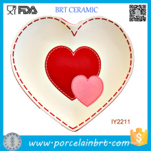 En gros doux coeur forme plaque en céramique