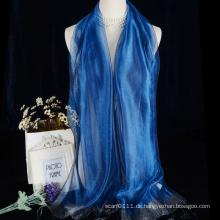 Damen Seiden Organza Schal mit Silberfaden Quasten alle Farben erhältlich