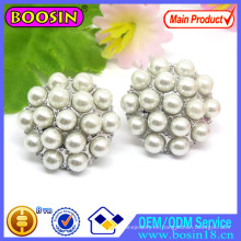 Pendiente de perlas de disco redondo de fábrica al por mayor con diamantes de imitación # 22296