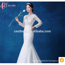 Alibaba Summer Woman White Satin Mermaid Lace Trumpet Long Sleeve Wedding Dress