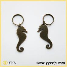 Porte-clés en hippocampe en alliage de Zine en métal avec logo imprimé