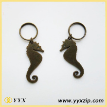 Printed Logo Metal Zine Alloy Sea Horse Keychain